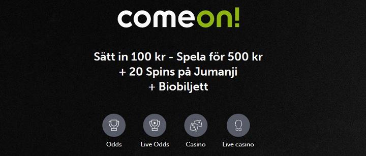 20 free spins och 400% bonus hos ComeOn Casino