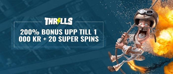Thrills Super Spins och bonus till alla nya spelare 2017